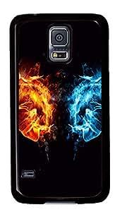 Diy Fashion Case for Samsung Galaxy S5,Black Plastic Case Shell for Samsung Galaxy S5 i9600 with Fire Fist vs Water Fist