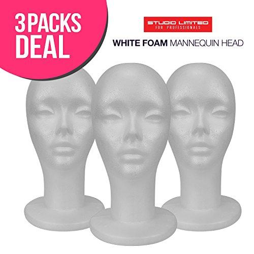 STUDIO LIMITED Styrofoam Mannequin Head, White Foam Wig Head Display (3)