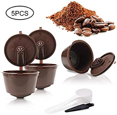 AOLVO 3 Pcs Cápsulas Filtros de Café Recargable Reutilizable para Cafetera Dolce Gusto con 1 Cucharón de Plástico y 1 Cepillo de Limpieza
