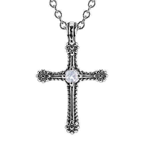 American West Sterling Silver White Moonstone Gemstone Cross June Birthstone Necklace