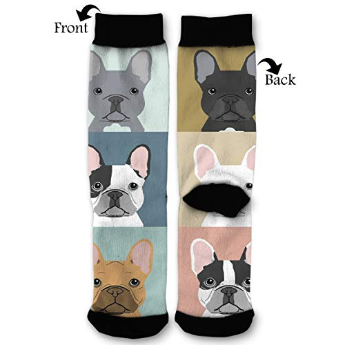 Cute Funny French Bulldog Puppies Mosaic Personality Pattern Polyester Compression Crew Socks Long Socks ()
