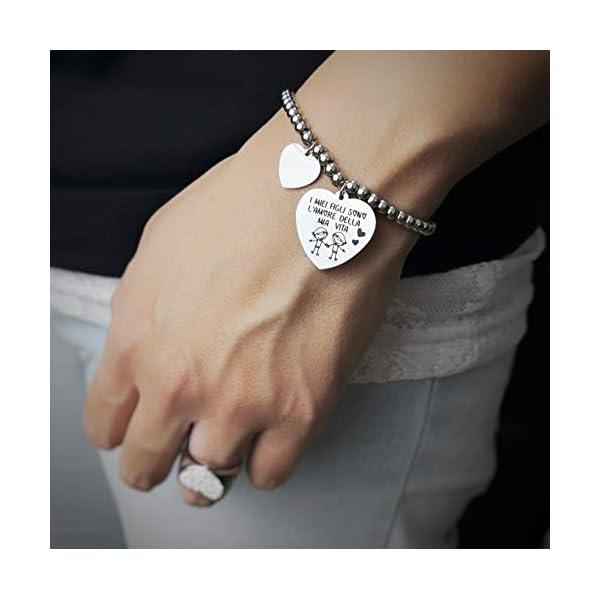 Beloved Bracciale da donna, braccialetto in acciaio emozionale – frasi, pensieri, parole con charms – ciondolo pendente – misura regolabile – incisione – argento – tema famiglia