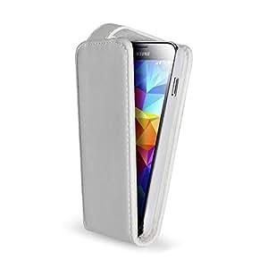 Funda de color blanco con tapa de cierre imantado para Samsung Galaxy S5