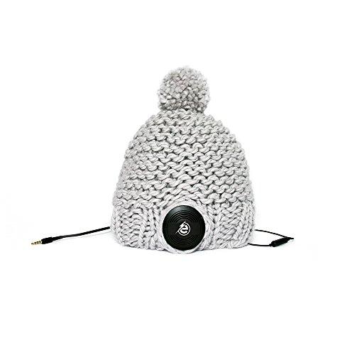 Earebel Grey Hand Knitted Bobble Hat Beanie with Built-In Black AKG Headphones, Suffolk by Earebel powered by AKG