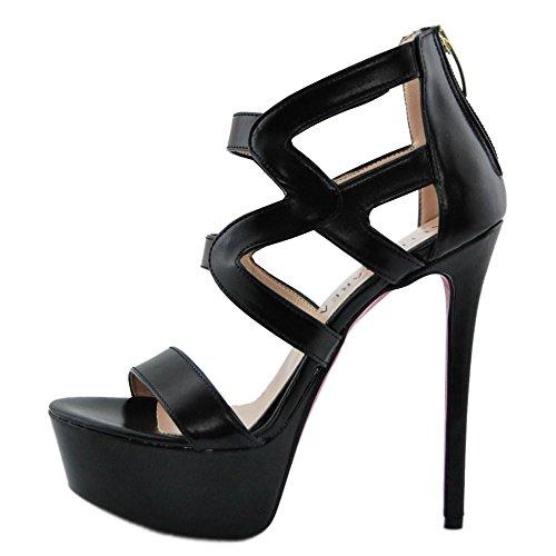 Altramarea Sandal with Heel and Plateau Leather Black