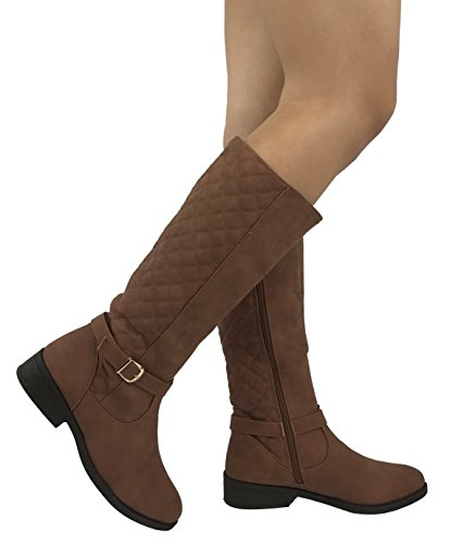 Wells Collection Womens Quilted Knee High Boots Soft Faux Suede Flat Heel With Side Zipper, Brown, - Knee Boots Suede Brown