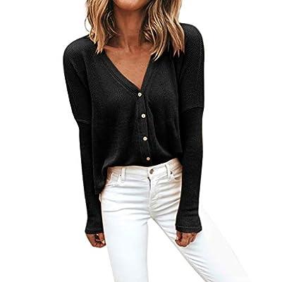TIANRUN Women's Deep V Neck Long Sleeve Henley Shirts Button Down Knit Sweater Slim Fit Cardigan Top Blouse