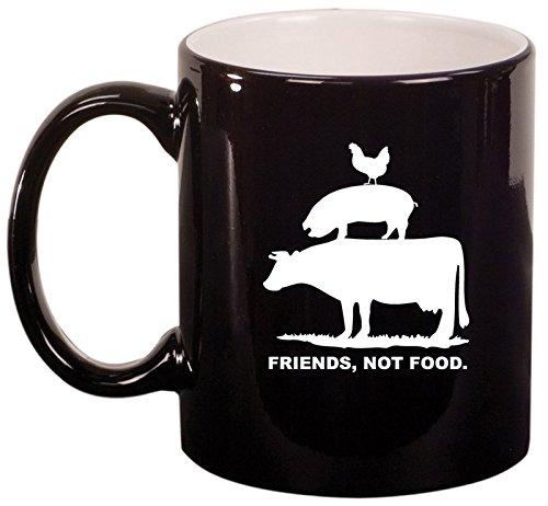 Ceramic Coffee Tea Mug Cup Friends, Not Food Vegan Farm Animal Rights (Black)