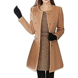 Sunhusing Women Winter Stylish Solid Color Lapel Button Windbreaker Warm Woolen Trench Parka Coat Outwear