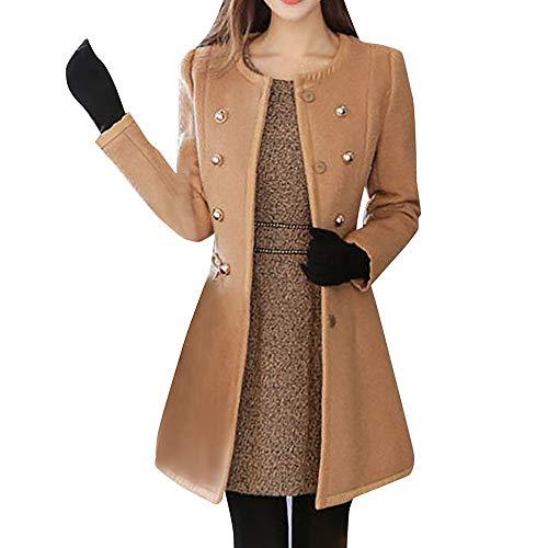 LISTHA Wool Lapel Trench Parka Coat Women Warm Outwear Long Jacket ()