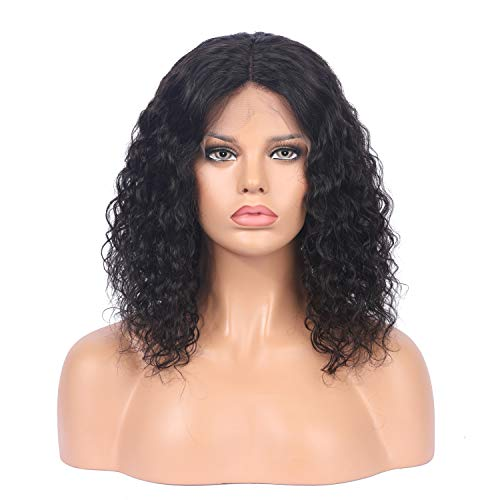 Curly Human Hair Lace Front Wigs Bob Style Brazilian Virgin Human Hair Wigs Pre Plucked with Baby Hair Glueless Lace Wig for Women (12 ()
