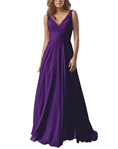 Women's V-Neck A-line Long Bridesmaid Dress Chiffon Elegant Prom Evening Dress Darkpurple US10