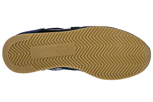 Philippe Model Chaussures Baskets Sneakers Homme en Daim Tropez Blu