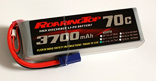 RoaringTop LiPo Battery Pack 70C 3700mAh 4S 14.8V with EC5 Plug for RC Car Boat Truck Heli Airplane ()