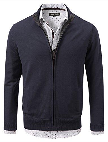 Cotton Zip Front Cardigan (7 Encounter 7Encounter Men's Vintage Zip-Front Cardigan Insignia L)