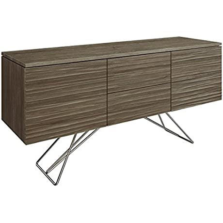 Saloom Furniture MBF57 WTR ZEN Nantucket Chrome Waterfront 57 2 Door 2 Drawer Steel Base Buffet Nantucket Finish