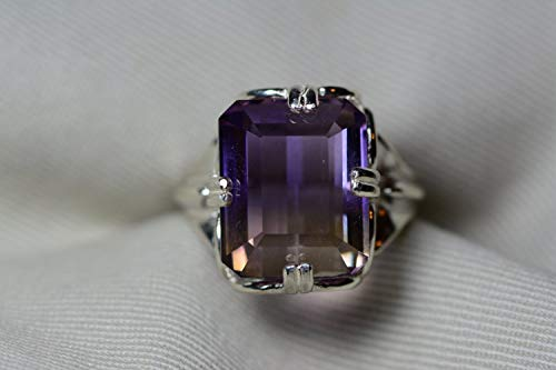 Ametrine Ring, Certified 15.45 Carat Ametrine Solitaire Statement Piece Appraised At 1,075.00 Sterling Silver, Natural Purple Yellow, Real