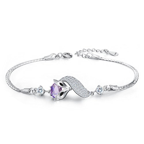 EleQueen 925 Sterling Silver Cubic Zirconia Lovely Fox Leaf Bracelet Chain Amethyst Color
