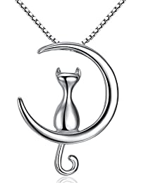 Fine Jewelry Moon cat Pendant Necklace S925 Sterling Silver perfect Gift for Fashion Women Girl