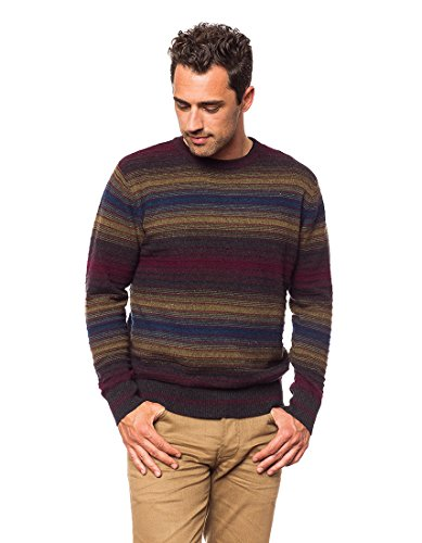 Invisible World Men's 100% Cashmere Pullover Sweater Diamond Stripe Earth Md