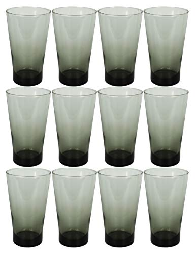Set of 12 Drinkware Drink Glass Drinking Glasses Set, 15 Ounce Coolers Glass Cups Limited Edition Glassware Drinkware Cups (12, Black Shade)