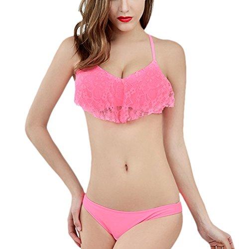 Zhhlaixing Summer Women Lace Bikinis Set Swimsuit Two pieces Holiday Swimwear 66130 Pink