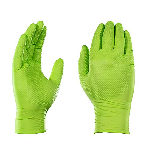 AMMEX Heavy Duty Green Nitrile 8 Mil Disposable Gloves - Extra Thick, Diamond Texture, Powder Free, Large, Box of 100 ()