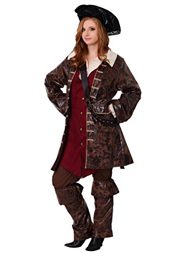 Plus Size Womens Caribbean Pirate Costume 2X Brown