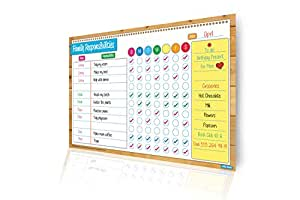 Magnetic Responsibility and Reward Chart, Flexible Dry Erase Board For Kids, Family Chores Calendar That Encourages Children's Routine & Good Behavior, Multicolored Learning & Sports Activity Tracker