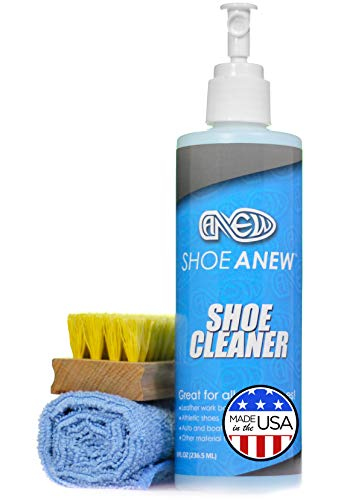 Sneaker and Shoe Cleaner Kit - ShoeAnew - All Natural, 8 Oz Bottle, Brush and Cloth; For Cleaning Tennis Shoes, Canvas, Plastic, Mesh, Knit and More