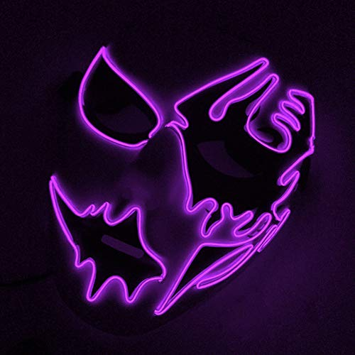 lightclub Halloween Cosplay Mask Frightening LED EL Wire Light Up Festival Makeup Party Purple -