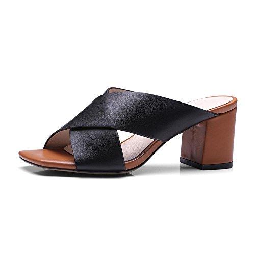 GJDE Ocio Señorita Sandalias y Zapatillas Cabeza de Pescado con Sandalias de Cuero Grueso Black