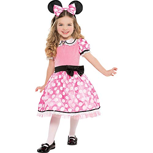 Costumes USA Minnie Mouse Deluxe Costume for Girls, Size Medium, Includes Pink Polka Dot Dress and a Headband with Ears