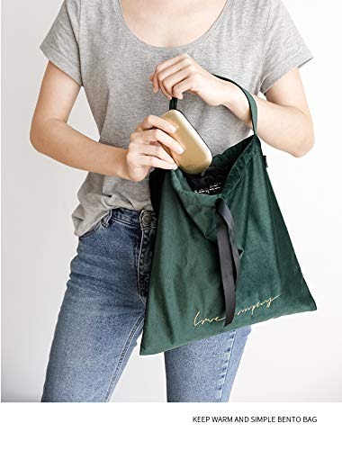 Dark Green D/&H Home fashion velvet lunch bag tote bag Drawstring cinch-top closure with removable Insulation bag for ladies women