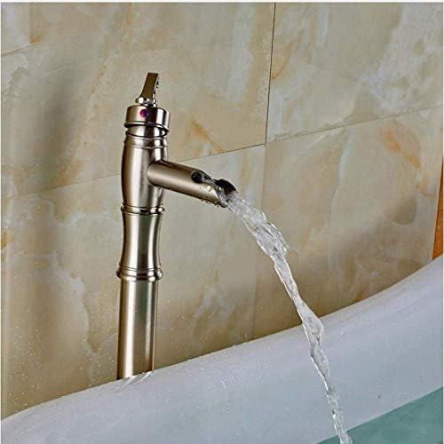 YASE-king 蛇口つや消しニッケルフロアマウント浴室浴槽の蛇口のシャワー浴槽フィラー無料立ち