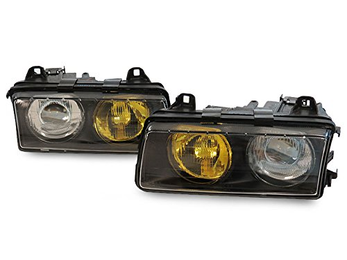 CPW (tm) Half Frenched French style Half Clear Yellow Glass Euro Projector Headlights Set FOR 1992-1999 BMW E36 3-SERIES- 318TI 318i 323is 328i 325is 325i 328is M3