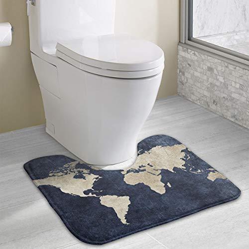 Laki-co Nonslip Contour Bath Rug Anti-Bacterial U-Shaped Toilet Floor Rug Antique Map Contour Bathroom Rug Spa ()