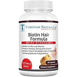 Vitruvian Natural Lab - Biotin Extra Strength - 5,000mcg - 60 Vegetarian Capsules - Hair - Skin - Nails