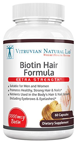 Neocell Labs (Vitruvian Natural Lab - Biotin Extra Strength - 5,000mcg - 60 Vegetarian Capsules - Hair - Skin - Nails)