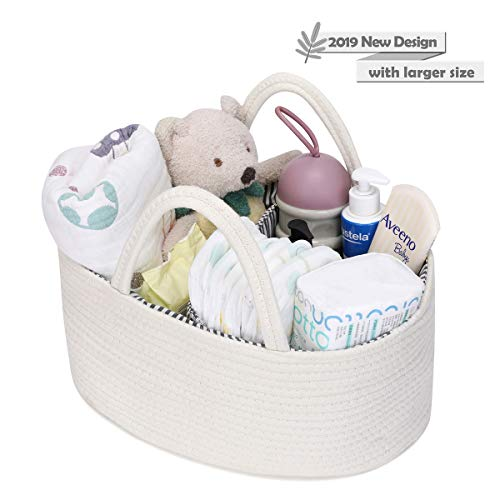 Baby Diaper Caddy Organizer Large Capacity Woven Cotton Rope Basket with Sturdy Handle and Divider Nursery Storage Bin for Diapers, Toys, Blankets, Milk Bottles (White) ()