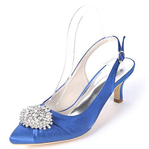 Buckle Fy160 yc Las Zapatos Rhinestones Tacones Platform 6cm L Altos Boda Blue Satin De Mujeres Blanco 6UPqwpq