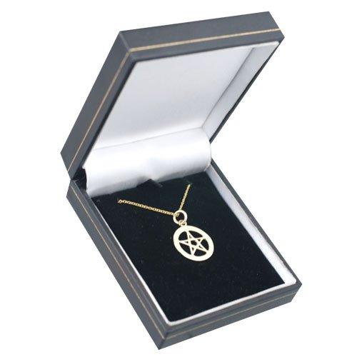 Pendentif Pentacle simple dans un cercle de 19mm en or Jaune 375/1000 avec chaîne Cable