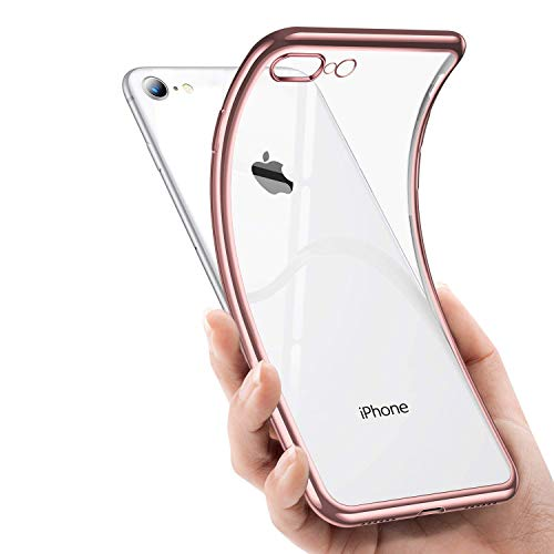 iPhone 7 Plus Case iPhone 8 Plus Case,Ultra Thin Slim Fit Flexible Soft TPU Transparent Crystal Clear Cover Scratch-Resistant Compatible with Apple iPhone 7 Plus(2016)/iPhone 8 Plus(2017),Rose Gold