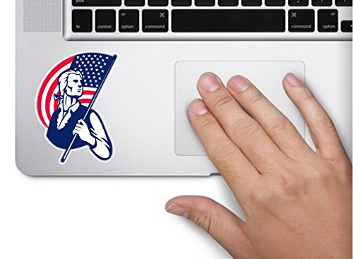 Patriot minuteman soldier holding flag 3.5x2 inches america united states murica color sticker state decal die cut vinyl - Made and Shipped in USA