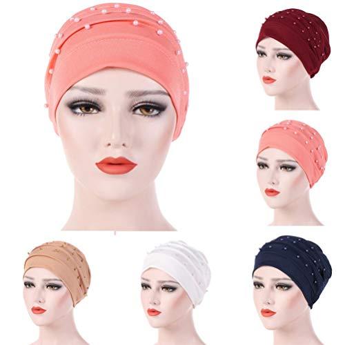 (Nacome Women Cancer Chemo Ruffle Hat Beanie Scarf Turban Head Wrap Bead Cap)