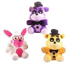 """3PC FNAF Plush Toys Five Nights At Freddy's Mangle Stuffed Animals Golden Freddy Fazbear 7"""" 18 CM"""