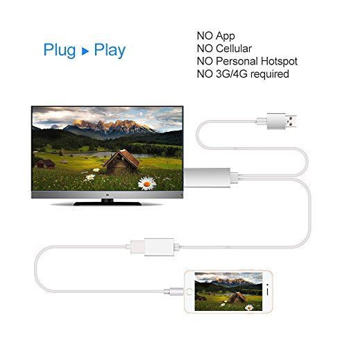 White cat Lightning to HDMI Cable for iPhone & iPad & Samsung Smartphones, Boscheng Plug and Play Lightning & MHL to HDMI Adapter HDTV Adapter Cable for Screen Mirroring on HDTV Projector (Silver)