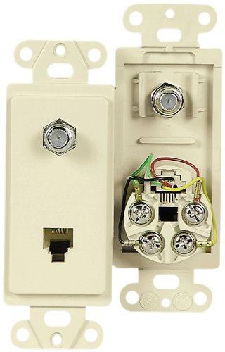 Ivory Adapter (Eaton 3562V Decorator Insert Combination Telephone Jack with 4-Conductors and Type F Coaxial Adapter, Ivory)