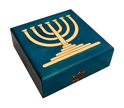 MilmaArtGift Blue Judaica Keepsake Menorah with Star of David Polish Handmade Wood Box Judaica Jewelry Box
