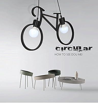 Lámpara colgante de bicicleta de artesanía de hierro Lámpara de techo de restaurante E27 Estilo industrial Iluminación decorativa AC110-240V (NEGRO)